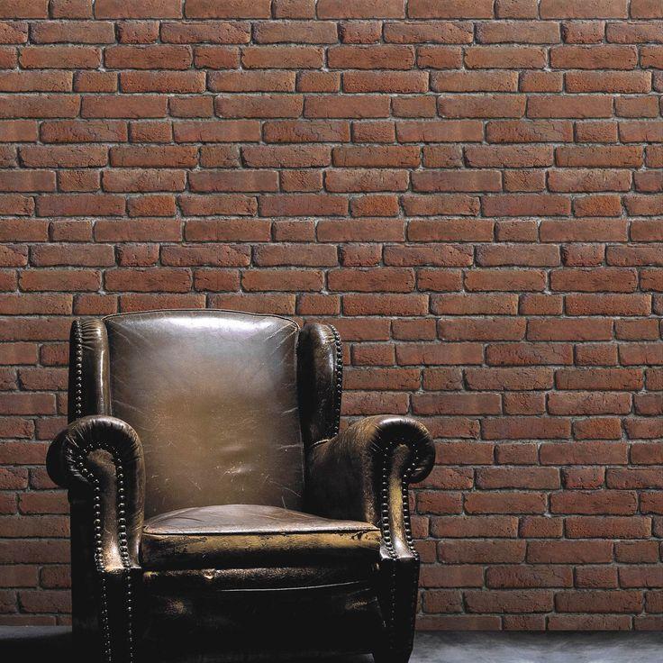 papier peint sur intiss inspire briques anciennes orange larg m leroy merlin murs. Black Bedroom Furniture Sets. Home Design Ideas