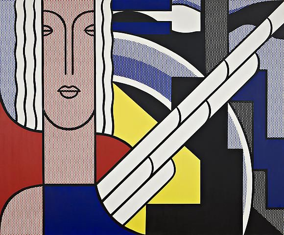 Roy LichtensteinModern Painting with Classic Head, 1967Oil and magna on canvas