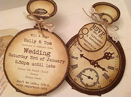 Elegant Alice In Wonderland / Steampunk Vintage Style Shabby Chic Party / Wedding /  Christening Invitations
