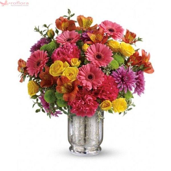 Country Bunch - Buchet din minigerbera, minirosa, garoafe, crizanteme