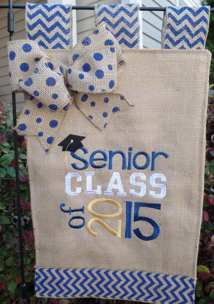 """Burlap  Embroidered  Senior Graduation 2015  Garden Flag  11"""" x 17""""  A great gift by cindidavis1 on Etsy"""
