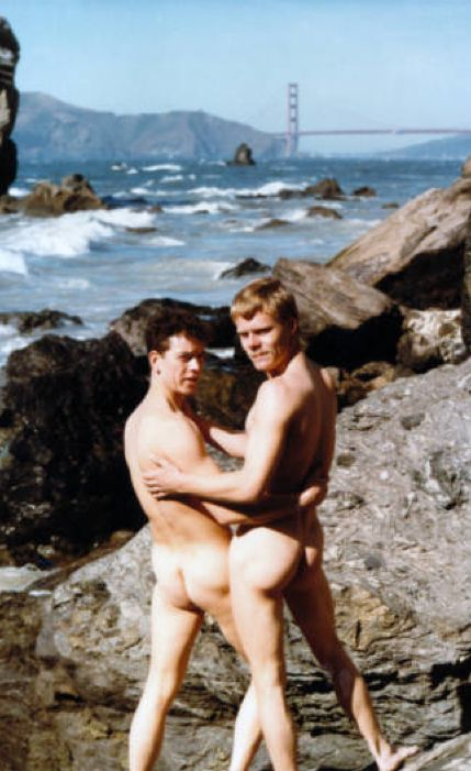 """Nude portrait of Jerome Maxwell Strum and Eric Scott Evans in photograph labeled """"this is my Favorite Picture of Jerome + Eric taken by Dan Carroll at Land's End in 1984"""" San Francisco. 1984 :: ONE National Gay and Lesbian Archives"""