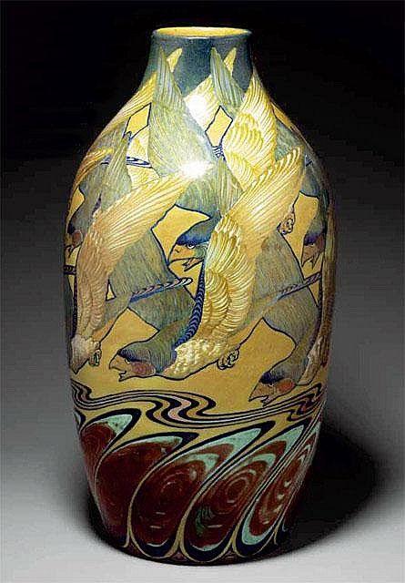 Galileo Chini, Arte della Ceramica, pottery vase with eagles decoration Date: c. 1903-1910
