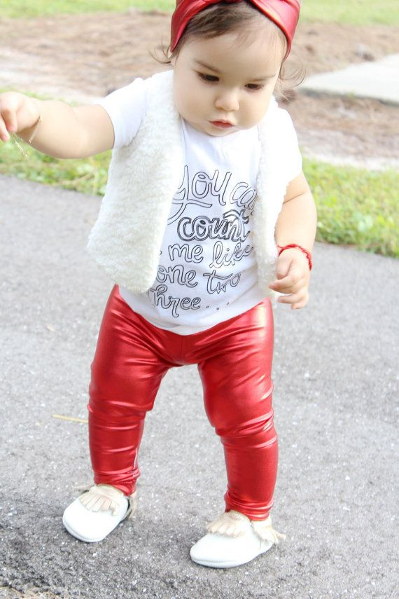 Metallic Red leggings for baby, toddler and girls. Shiny red leggings and…