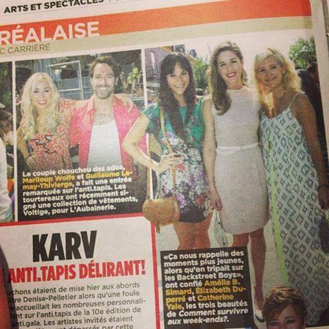 """Élizabeth Duperré porte une robe """"Ginger"""" de Annie50 dans le cadre du gala """"Karv"""". Paru dans le journal de Montréal, jeudi 23 août 2013"""
