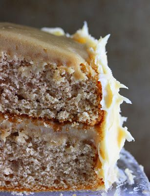Fluffy spice cake with killer caramel cream cheese frosting.