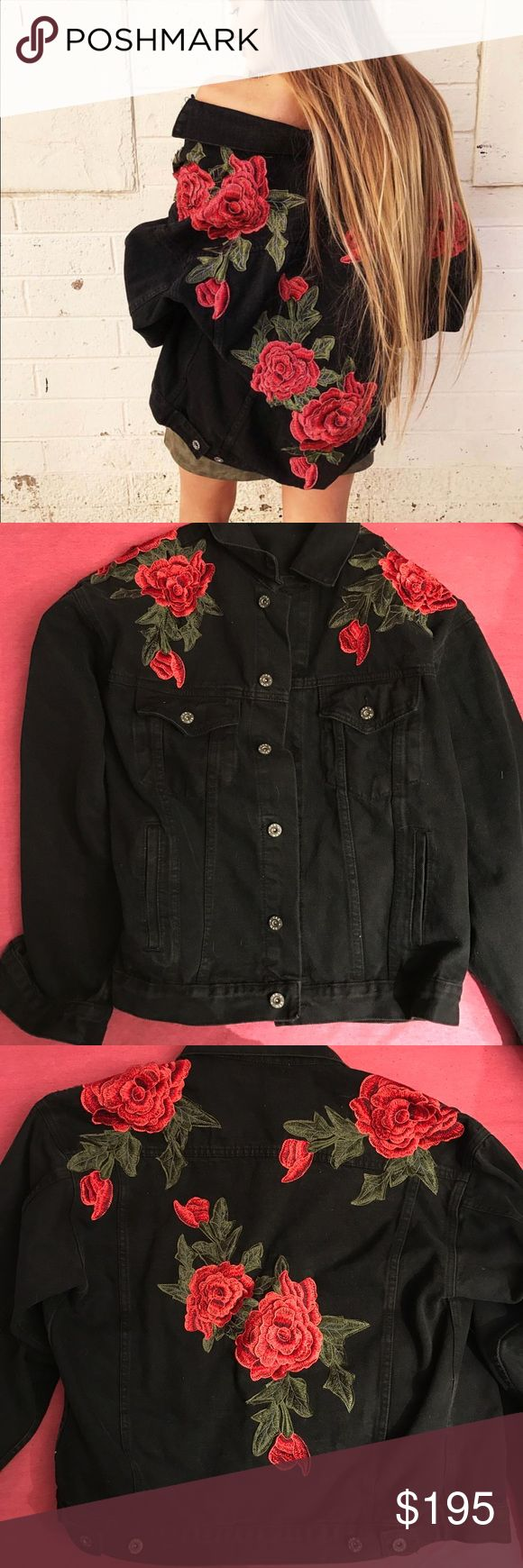 ‼️low price for only 2 hours‼️LF DENIM ROSE JACKET Bought a few months ago, but it's been sitting in my closet unworn, and in perfect condition. It is marked as a small but it is very oversized so it can definitely fit a bigger size. I absolutely love this jacket and it's going to be hard to part with feel free to offer :) LF Jackets & Coats Jean Jackets