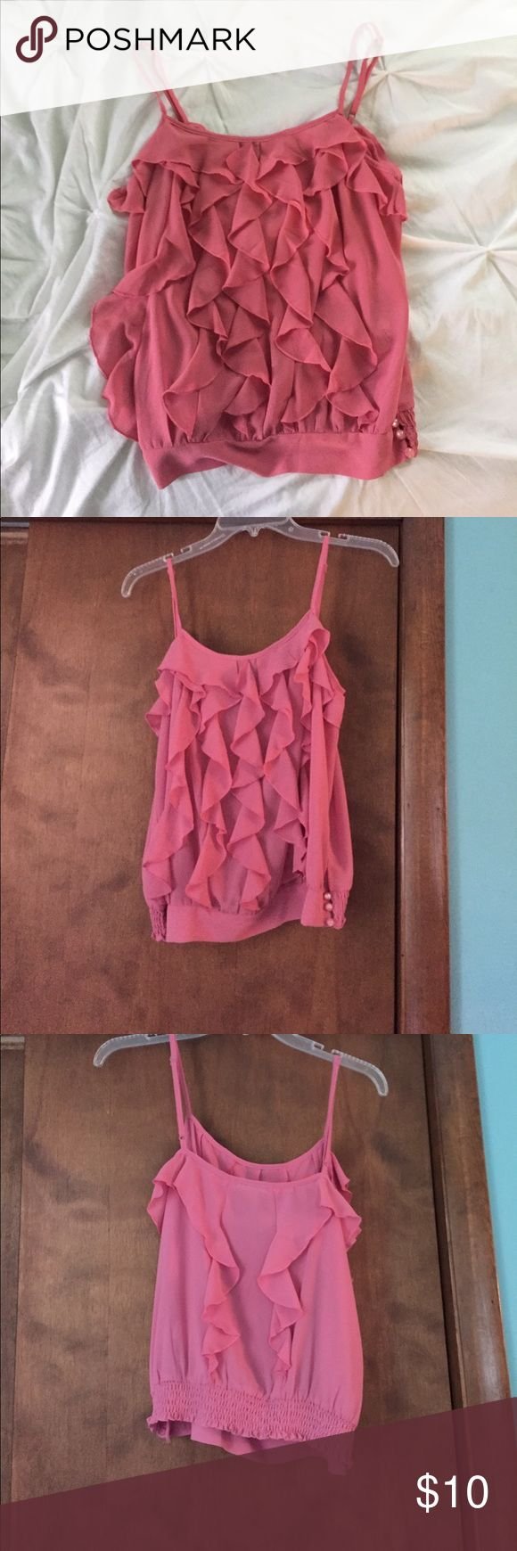 Pink tank top blouse Pink tank top, blouse material, from Charlotte rouse size medium Charlotte Russe Tops Tank Tops