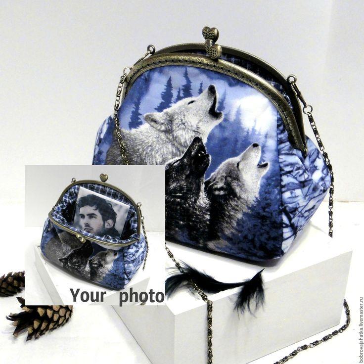 Купить Косметичка с фермуаром Синяя сумка клатч Волки Юбилей подарок женщине - косметичка с фермуаром