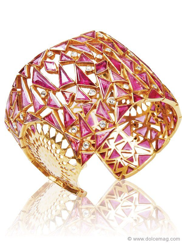 Amrapali Cuff: Sharp pink tourmaline triangles blend beautifully with the gold  frame of this marvellous Amrapali cuff. This golden band will make you the  ...