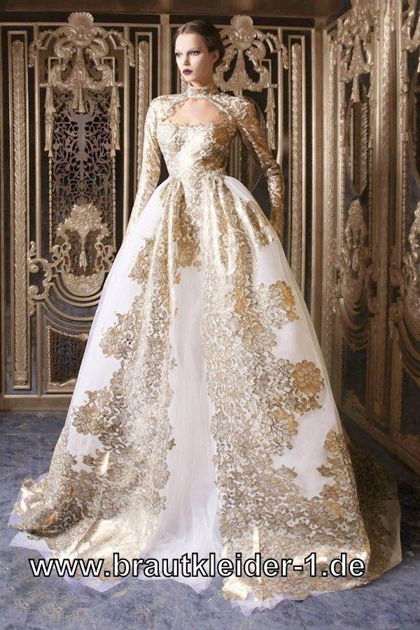 Farbiges Designer Brautkleid in Weiss Gold
