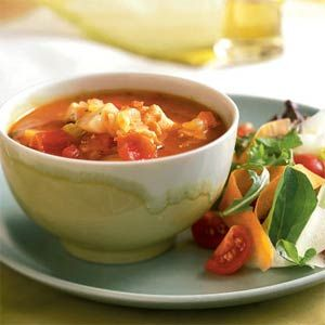 Manhattan-Style Fish Chowder (butter, onion, carrot, celery, garlic, tomato paste, dry white wine, potato, thyme, clam juice, tomatoes, bay leaf, halibut)