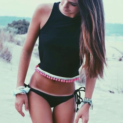 Pink Neon Pompom Black Croptop ÖH MY Collection. #ohmycollection #ohmycroptop