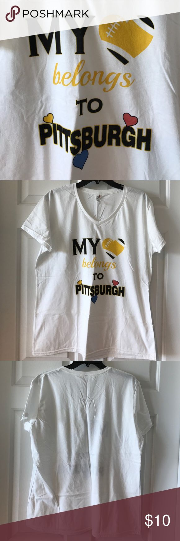 Pittsburgh T shirt size XL My heart belongs to Pittsburgh T shirt with cap/shirt sleeves. Size XL. Never worn, tags have been removed. Tops Tees - Short Sleeve