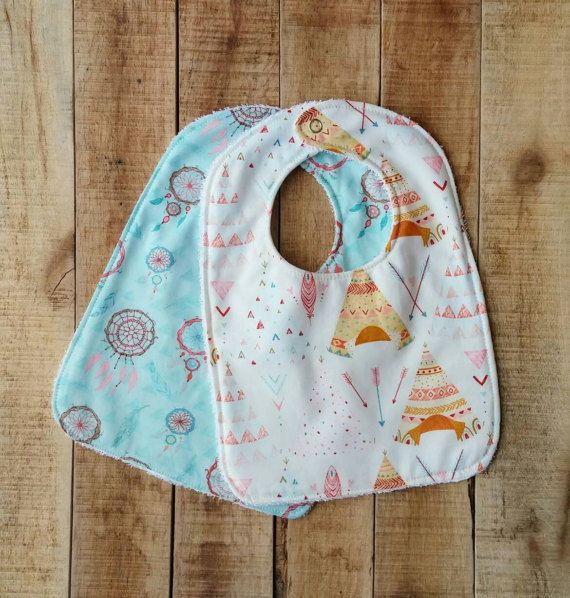 Fashionable and practical! This is a beautiful accessory while practically keeping your babys outfit drool, food and spit up free. These beautiful tribal print Bibs make a unique and cherished shower gift that would be well used and very handy for any new mom.  I was recently inspired by my own children's need for a good quality bib that had a good amount of coverage. This stylish bib is great for messy eaters.  The bib is topped with 100% Cotton, backed with absorbent Terry Cloth and…