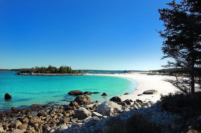 Caribbean? No. Port Mouton Nova Scotia. Been here and the beach is soft, silky sand with diamond sparkling in it. The water is bright aqua coloured - this is a gorgeous place to spend a summer.