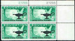 US #1206 Stamps for sale  4 cents Higher Education Stamps  Featuring Map of US and Lamp  Plate Block of 4 Stamps  UR 27286-27295 US 1206-1