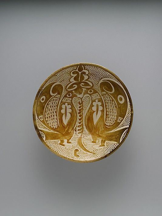 Bowl with Two Facing Peacocks, second–third quarter 10th century. Iraq, probably Basra. The Metropolitan Museum of Art, New York. Fletcher Fund, 1964 (64.134) #peacock
