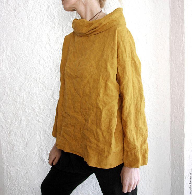 Купить Рубаха льняная - однотонный, рыжий, лён 100%