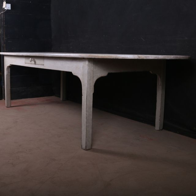 Fabulous French Farm Table Fabulous 19th C French D End Farmtable. Bleached  Top