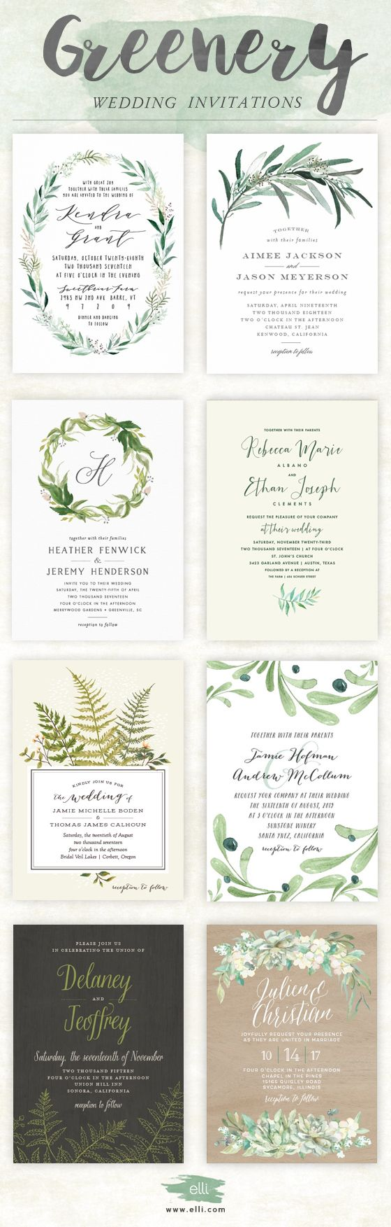 templates for wedding card design%0A Trending for       greenery wedding invitations from Elli com