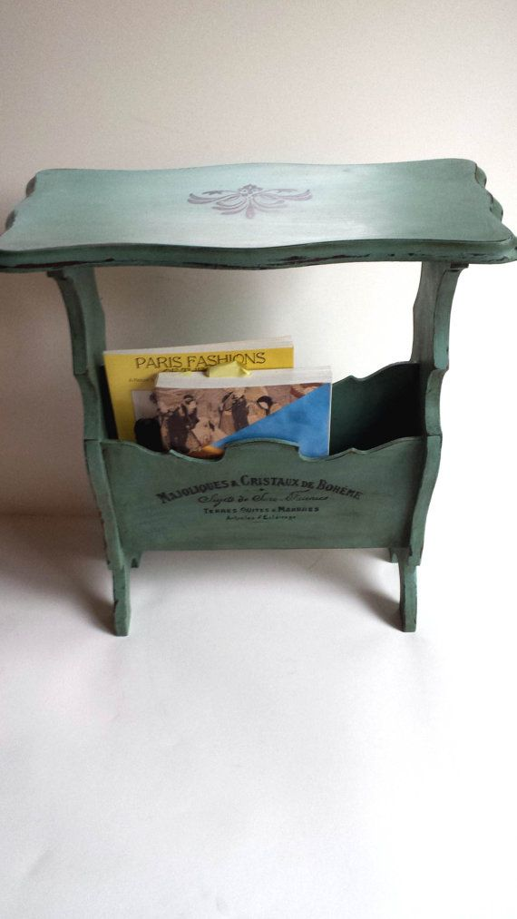 French End Table With Magazine /Book Rack, Painted Vintage Side table, Shabby Chic Occasional Table with Typography