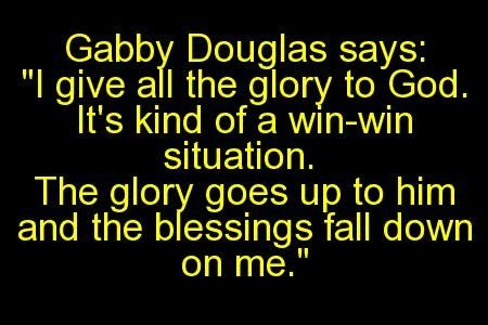 Gabby Douglas praises God for gold medal.