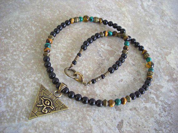 Pyramid with Eye of Horus  Pewter Pendant Black by JaspersDream
