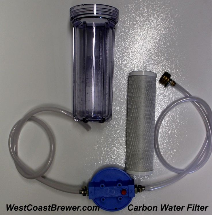 Home Brewing Carbon Water Filter.  Used to remove chlorine and other contaminants from a home brewers brewing water.  It is an inexpensive and easy way to make a big improvement to the taste and quality of your beer.  http://westcoastbrewer.com/BrewersBlog/home-brewing-equipment/home-brewing-water-filter/ #homebrewinggear