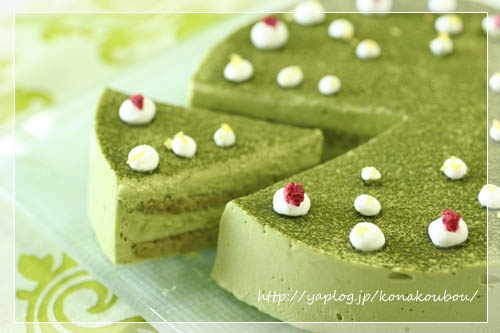 cheese cake with Japanese greentea
