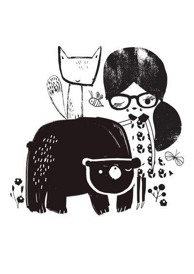 Girl and Bear Art Print