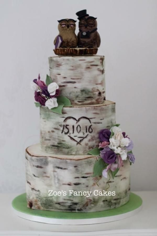 Silverbirch Wedding with Owl Topper - Cake by Zoe's Fancy Cakes