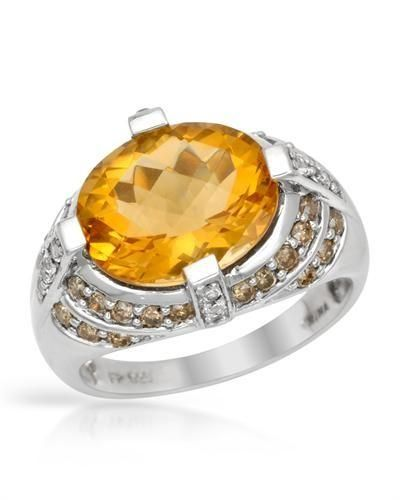 Size 7. Irresistible cocktail ring with genuine citrine, diamonds and topazes well made in 925 sterling silver. Total item weight 5.0g. Gemstone info: 1 citrine, 4.60ctw., checkerboard shape and yellow color, 32 diamonds, 0.57ctw., round shape and C2 color. Clarity: I1 - I2, 14 t http://www.idealsmarter.com/?refid=31593e9f
