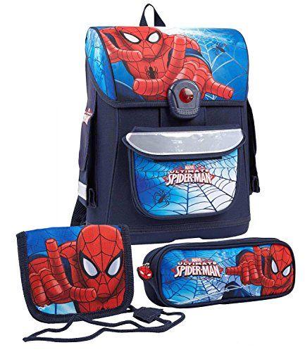#Spiderman Jungen #Schulranzen Set - marine blau