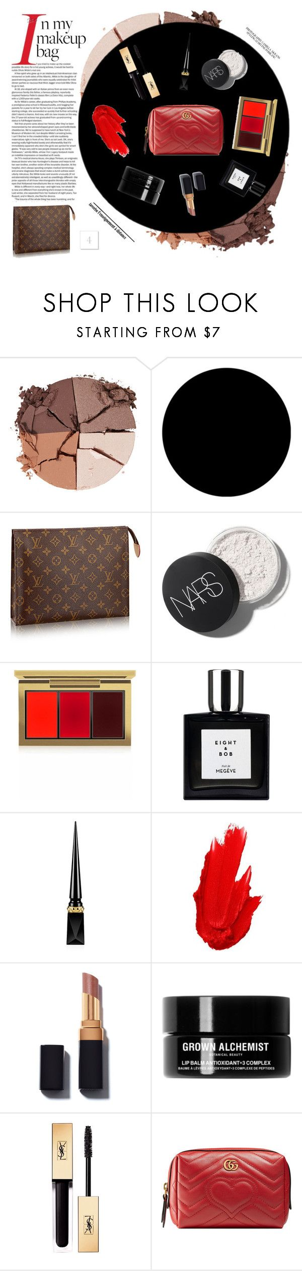 """""""What's in Your Makeup Bag?"""" by luxthrill ❤ liked on Polyvore featuring beauty, lilah b., Wall Pops!, MAC Cosmetics, Christian Louboutin, Maybelline, Grown Alchemist, Yves Saint Laurent, Gucci and Beauty"""