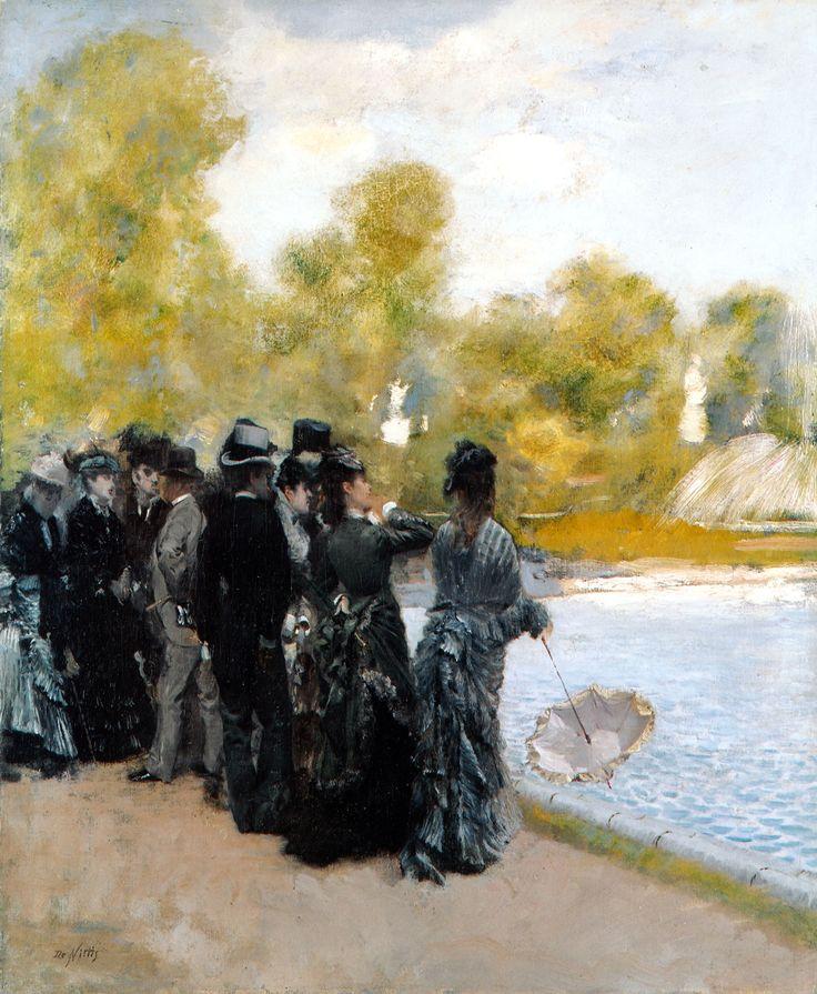Giuseppe De Nittis (Italian 1846–1884) [Impressionism, Salon] Accanto al laghetto dei giardini del Lussemburgo, 1875