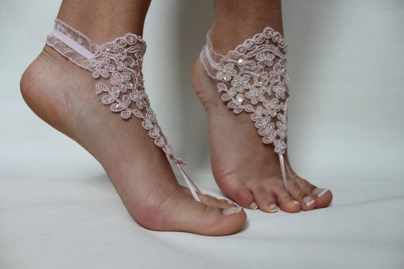 FREE SHİPP Beach Wedding,Barefoot Sandals,Pink Lace Bridal Anklet,Wedding Shoes,Wedding Sandals,Foot Jewelry