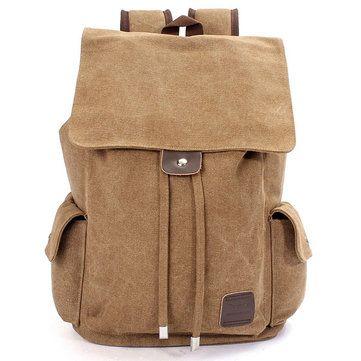 Men Outdoor Travel Canvas Backpack School Rucksack Shoulders Bag - US$35.20 sold out