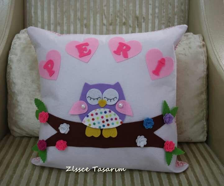 Kece, kece taki yastigi, baykus, baykuslu yastik, owl, dekoratif kece kirlent,
