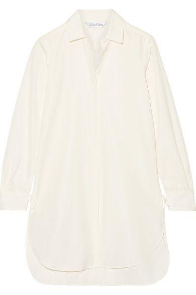 Max Mara - Oversized Lace-up Cotton-poplin Shirt - Ivory - UK