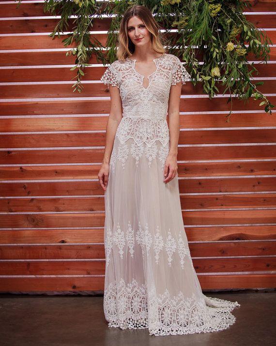 Azalea Lace Bohemian Wedding Dress | Cotton Lace with OPEN BACK and SILK liner | Handmade |  Boho Beach Wedding Dress