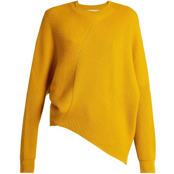 Stella McCartney Asymmetric long-sleeved ribbed sweater (£430) ❤ liked on Polyvore featuring tops, sweaters, stella mccartney, yellow, long sleeve asymmetric top, ribbed sweater, rib sweater, ribbed top and drop shoulder tops