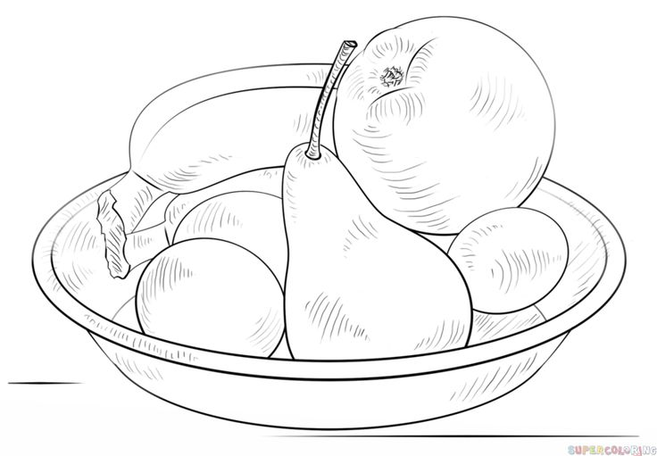 how to draw a bowl of fruits