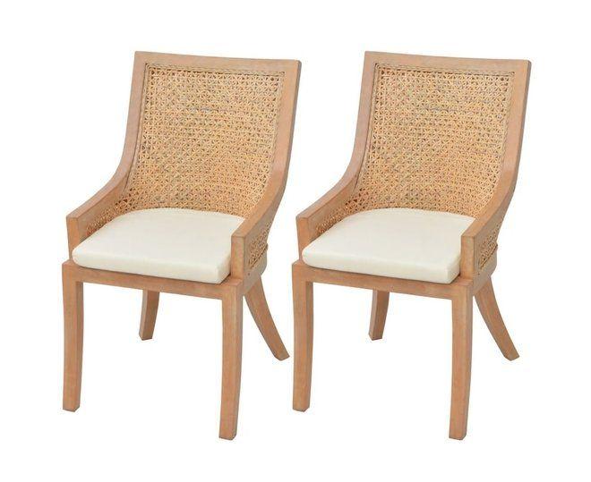 2x Dining Chair Rattan Wicker Mango Wood Brown Kitchen Living Room