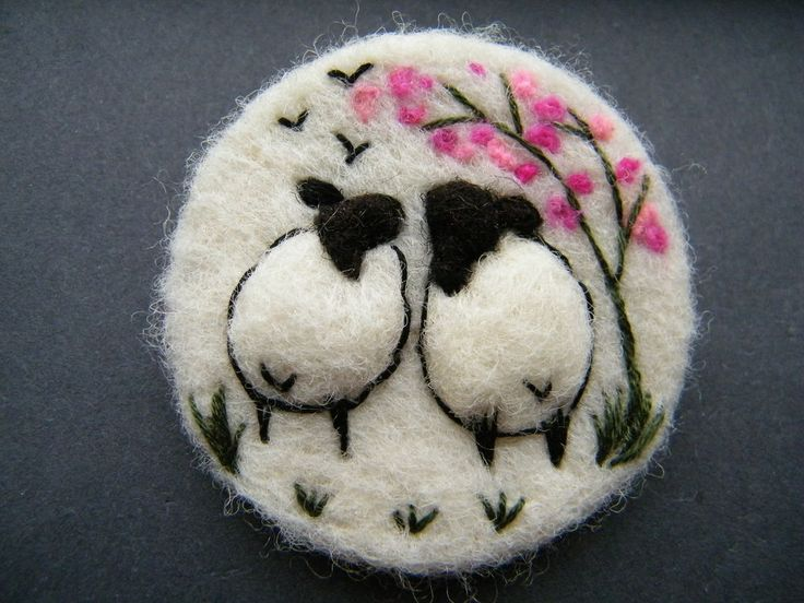 Hand Made Needle Felted Brooch/Gift In the Blossom by Tracey Dunn