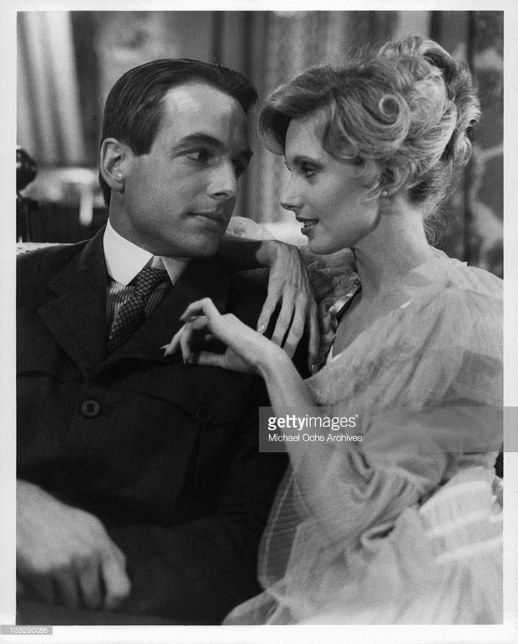 Mark Harmon looking into the eyes of Morgan Fairchild in a scene from the television movie 'The Dream Merchants', 1980.