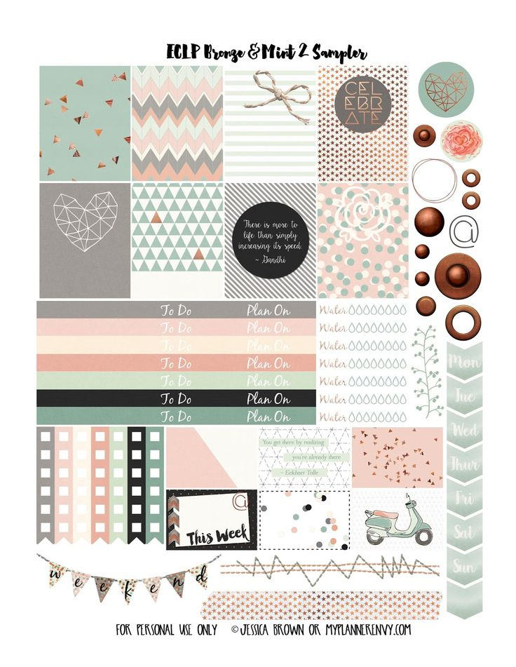 My Planner Envy: Bronze & Mint 2 Sampler- Free Planner Printable