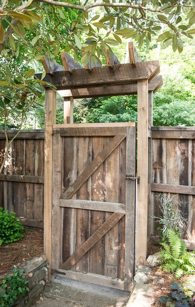 Lattice fence and gate with a simple arbor for the front facing fences, and…