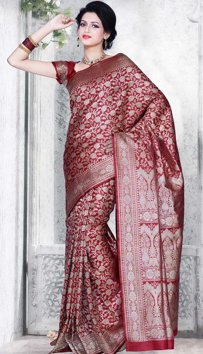 Online Latest Indian Traditional Red Benarasi Silk #CasualSaree  #Price INR- 5050 Link- http://alturl.com/69e6u
