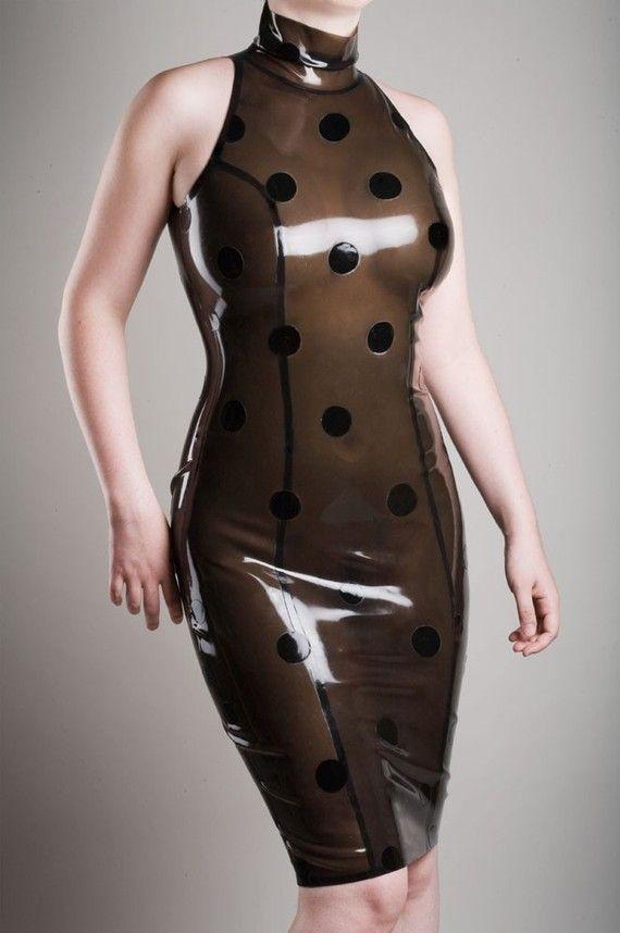 the american polka dot dress by hms latex #black #latex #dress